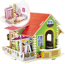 Children Gift Diy Play House Model 3D Stereo Jigsaw Puzzle Wooden Toys
