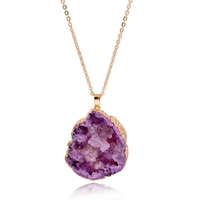 Light Amethyst Druzy stone pendant necklace,Drusy agate necklace, druzy agate necklace