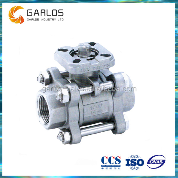 Q11F 3PC direct mounting stainless steel ball valve