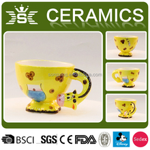 yellow ceramic cute giraffe animal 3D mug
