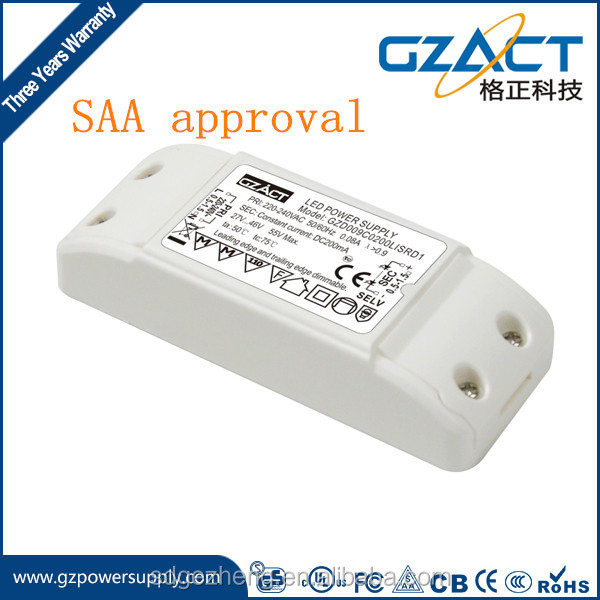 TUV SAA CE constant current 500mA 9W triac dimmable led driver 8w dimmer driver