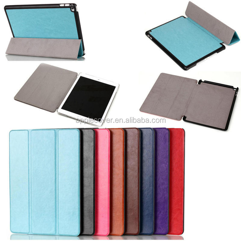 Factory Price Silk Texture Tri-fold Flip Leather Case for iPad Air 2