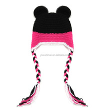 Lovely baby MINI Bow pattern handmade crochet photography props knitted winter cartoon girls hats
