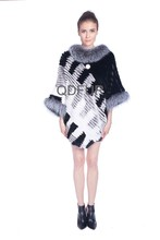 QD80156 Sex Products Women Rabbit Fur Cashmere Poncho with Silver Fox Fur Cape