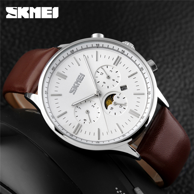 skmei 9117 quartz leather watch genuine