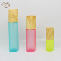 50ml 80ml 100ml 150 ml unique clear lovely empty wooden cap plastic bottle for cosmetic packing