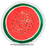 Wholesale alibaba custom printed watermelon shaped round beach towel