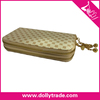 Milky White Double Zipper Flower Grid Wallet Purse Hand bags for Woman