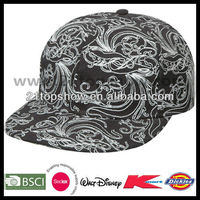 Mens cheap print custom flat peaked caps