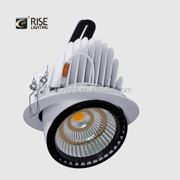 Round gimbal led downlight 50w cob led ceiling light SAA TUV UL SASO approved fromr ise lighting