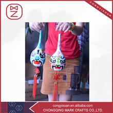 Classic Peking Opera Facial Makeup Gourd Painting with Chinese Knot for Adornment
