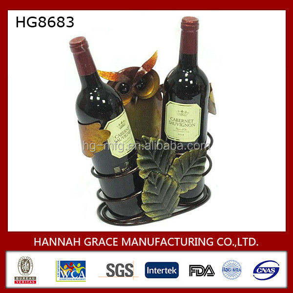Factory Supplies Owl Elegant Iron Wine Bottle Holder