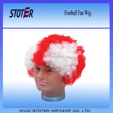 2016 Best sales Football fan England Wig Party cheap sport Soccer Fan wig
