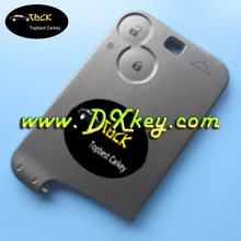 2 button blank key card smart car key case without blade with logo for Renault Laguna key card