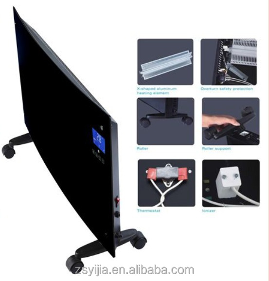 Home Decorative Electric aluminum glass panel <strong>heater</strong> with LCD touch screen