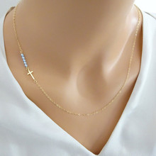 New Fashion Jewelry 18K Gold Sideway Cross Necklace Women With Pearls