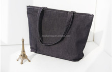 factory supply black denim canvas tote bag for shopping