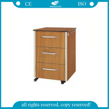 AG-BC016 High quality hospital furniture movable bedside wooden cabinet for patient