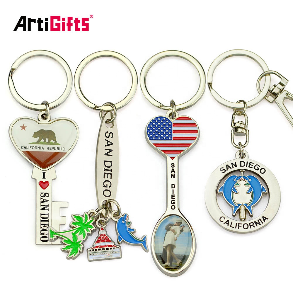 Promotion item premium oem embossed sublimation print real leather keychain for car