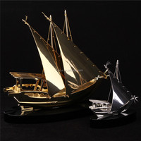 Noble Customized Made Golden Crystal Arab Modern Gold Or Silver Crystal Ship Model And Islamic Souvenirs Gifts