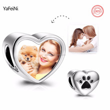 Paw Print Heart Personalized Photo Charm 925 Sterling Silver DIY European Charm For European Bracelet