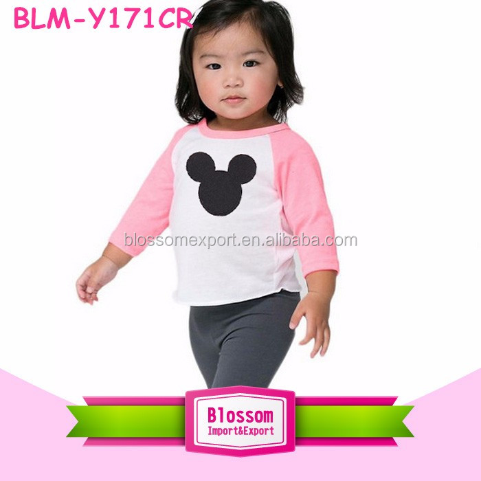 New design 180 grams fabric raglan cotton kids t-shirts 3/4 pink sleeves print Mickey pattern baby raglan t-shirts wholesale