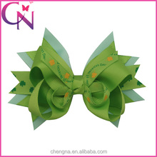 St. Patrick's Day Flowers Printed Green Ribbon Boutique Hair Bows CNHBW-13102447W