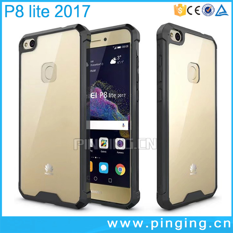 anti scratch tpu acrylic transparent 2 in 1 hybrid mobile phone case for huawei p8 lite 2017 back cover