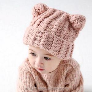 00a8f746508 Latest Cute Baby Girl Cat Ear Design Knitting Pattern Hat 2017 Winter  Outdoor Kids Warm Wool