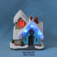 "4"" Christmas light decoration snow house with blue ice led lights"