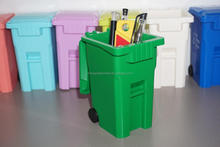 Plastic mini wheelie bin desktop pen holder