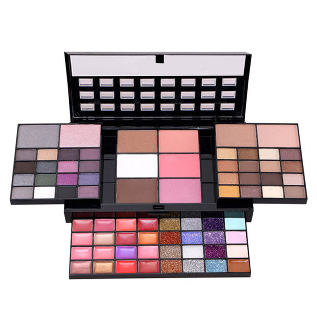 Private label Cosmetics all shimmer 74 Color Cosmetics cheap eyeshadow palette with mirror and brush