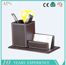 New design multifunctional leather pen container with business card holder