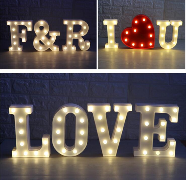 26 Letters LED Night Light Festival Lights Party Bedroom Lamp Wall Hanging Photography Ornaments