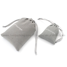 Eco-friendly materials applied small white black cotton fabric drawstring cotton pouch bag for diamond earrings