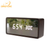 Wood Made USB Charge LED Digital Table Desk Wooden Clock With Alarm Function, Temperature and Humidity Display