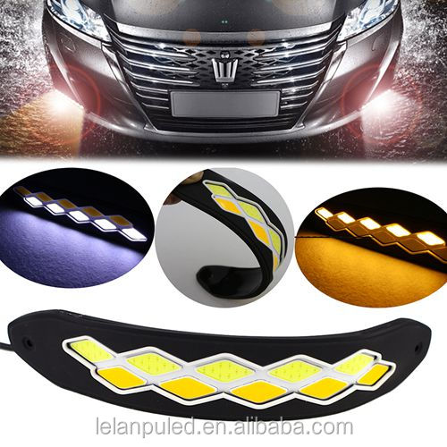 Flexible Silicone DRL Waterproof Car COB LED Daytime Running Lights With Turn Signal