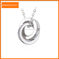 925 Sterlig Silver Double Ring Pendant love Necklace JHYXL31