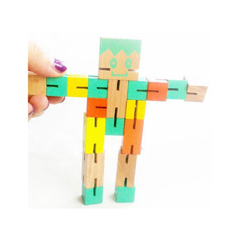 Multicolor Cube Puzzle Toys Custom Cute Wooden Robot With Smiling Face Intelligence Toy