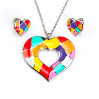 2018 JMY Enamel Technology colorful sweet heart In Stock Free samples High Quality 316L Stainless Steel Jewelry sets