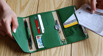 Korea Style Multi-Function Three Folders with Zipper Style Laides Passport Wallets