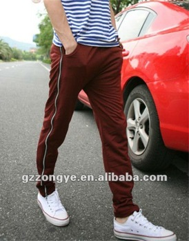 Men fashion long pants side seam zipper decorated tightness adjustable