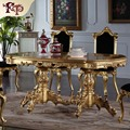 royal classic furniture - Handwork Gilding golden foil royalty dining table