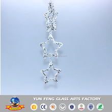 Wholesaler christmas star glitter hanging icicle glass ornament
