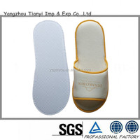 Open toe design OEM/custimized beige cotton velour hotel slipper