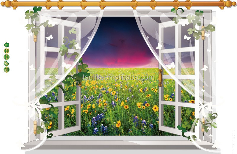 Removable pvc waterproof beautiful scenery self adhesive home decor 3d view wall window