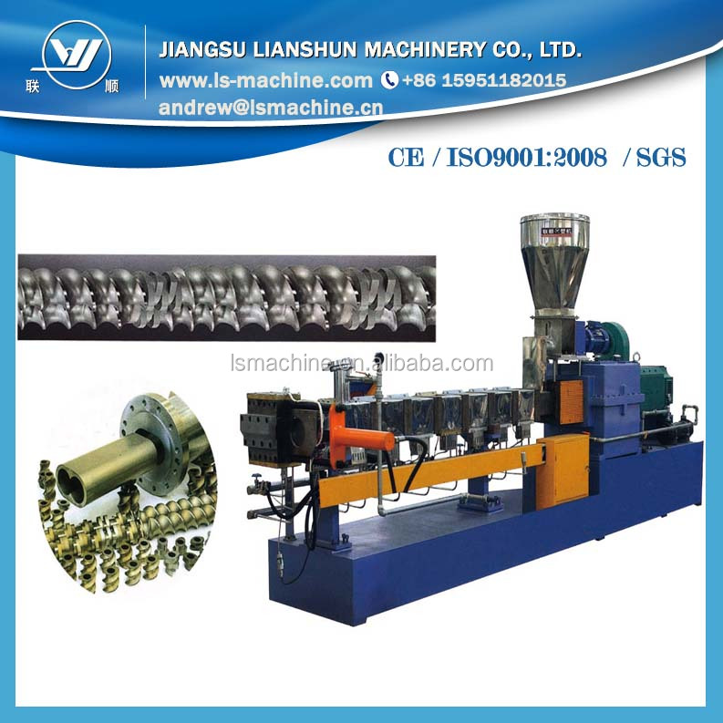 Plastic counter parallel double screw extrusion