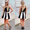 C87173A lady black and white striped dress wrapped chest harness dress