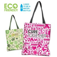 Full Color Sublimated 100% Recycled PET Tote Bag - made from recycled water bottles and comes with your logo.