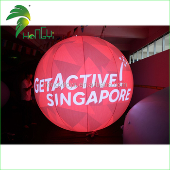 3M Large Red Inflatable Logo Advertising Sphere Balloon , Commercial Helium Balloons With LED Lighting